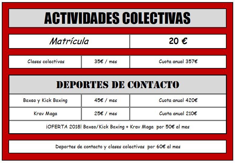 tarifas colectivas y deportes de contacto